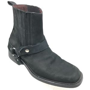 Kenneth Cole Nubuck Leather Harness Boots Moto